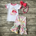 baby girls Easter bunny design clothing girls kids boutique party clothes  ruffles cotton capri outfit with matching accessories