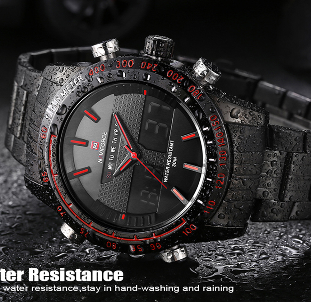 MAN  Watch relogio masculino Fashion Sport Luxury Brand Men's Quartz Digital Analog Clock Man Full Steel Wrist WatchNAVIFORCE