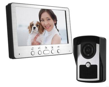 "Free Shipping  7"" TFT wired Video Door Phone Intercom Unlock Doorbell Home Security Camera Night Vision Visual Doorbell"