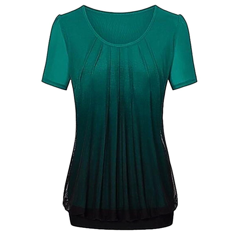 Camisa Corta amp; 2019 Femininas D Blusas Moda Manga Verde Blusa Ws rosado Mujeres Chemisier Ropa Femme Coreana rojo De Impreso Verano Gradiente qId4PTw