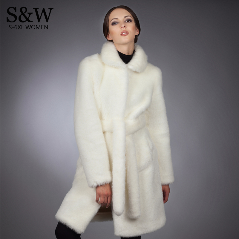 S-5XL Plus Size Winter Clothing Long Fur Coat Women Faux Rabbit Fur Coat White Mink Fur Overcoat Outerwear With Fur Belt basic editions fall winter brown metallic silk fabric cotton coat with rabbit fur collar with belt covered button 7001d11