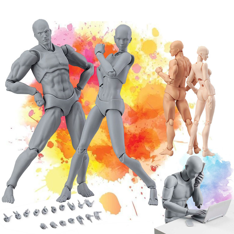 Figma He She Movable Body Joint Action Figure Toy Artist Art Painting Anime Model Doll Mannequin Art Sketch Draw Human Body Doll