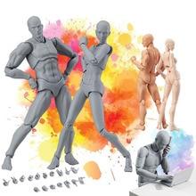Figma он она подвижный корпус совместное действие фигурка игрушка художественная живопись аниме модель куклы манекен арт схематичный эскиз человеческое тело кукла