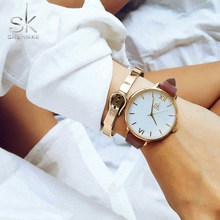 Shengke Brand Women Relojes de pulsera de cuero simple Lady Gold Relojes de marca de lujo Mixmatch Relogio Feminino Brown Leather 2017