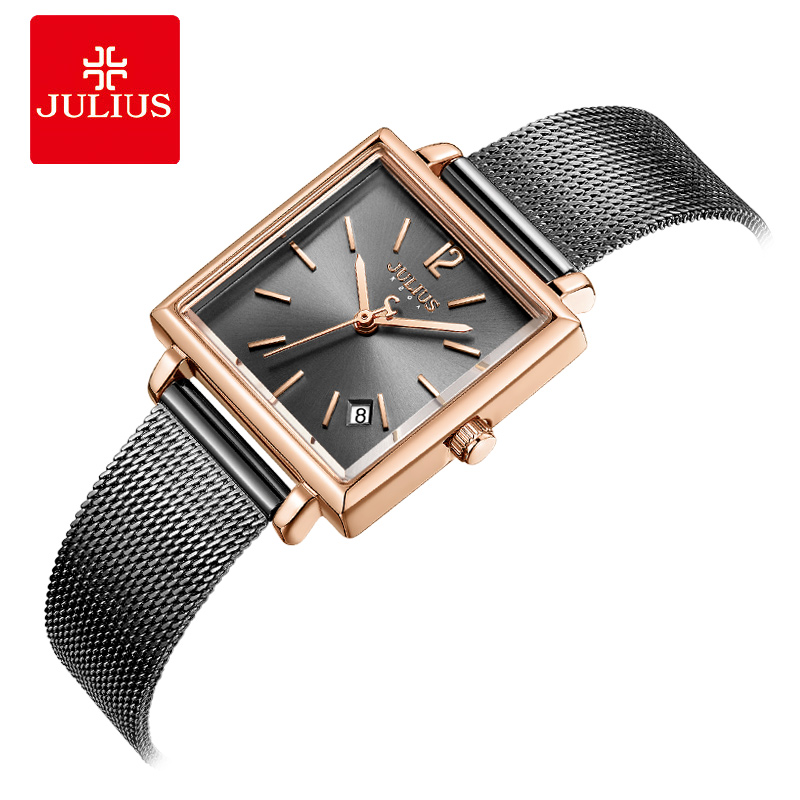 Julius Watch Gray High Quality Stainless Steel Watch With Calendar Mesh Band Fashion Women s Square
