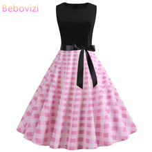 Bebovizi 2019 Summer New Women Plus Size Black Patchwork Pink Dresses Plaid Print Casual Office Elegant Vintage Bandage Dress