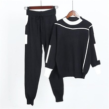 Dance&Gratify Knitted Casual Tracksuit Pant Suits 2019 2 Piece Set Women