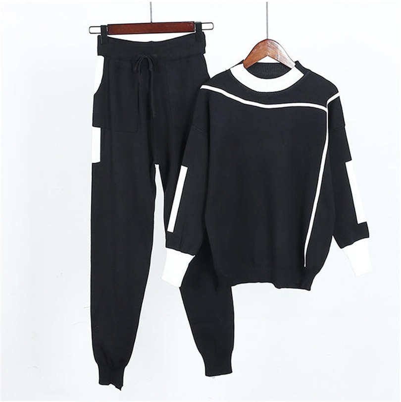 Dance&Gratify Knitted Casual Tracksuit Pant Suits 2019 Fashion Elegant 2 Piece Set Women Pullover Sweater And Trousers Set