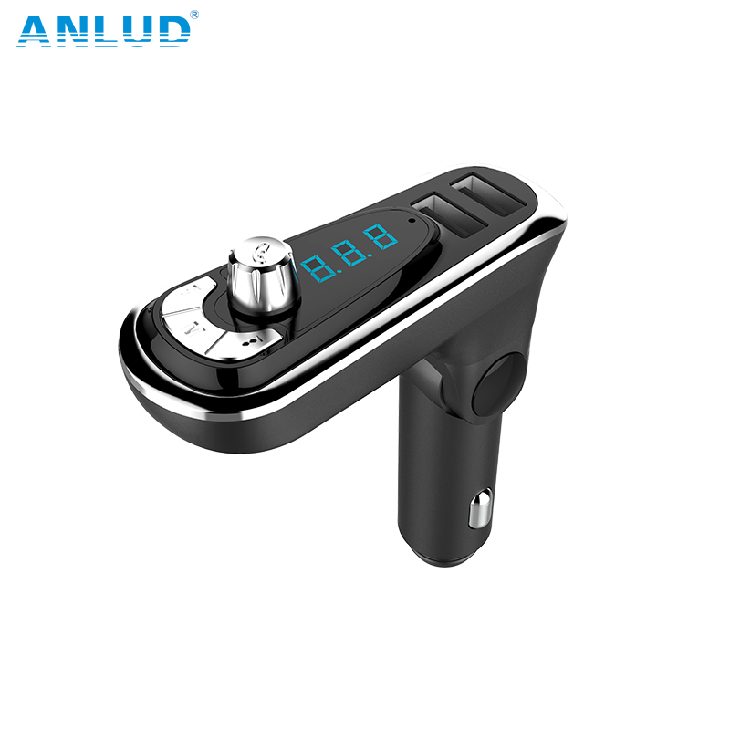 ANLUD 4-in-1 FM Transmitter Dual USB Port AUX Modulator Car Kit MP3 Player Hands Free Wireless Bluetooth Car Accessories 2018New bq638 2 in 1 wireless bluetooth 4 1 headsets car charger in car headphone car kit earphone hands free calling for iphone android