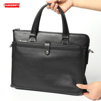 New Genuine leather Men handbags ladies business briefcase computer bag soft black leather 14 inch laptop shoulder messenger bag