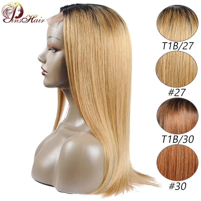 Pinshair 1B/27 Honey Blonde Lace Front Human Hair Wigs For Black Women Straight Peruvian Human Hair Wigs Non Remy Lace Front Wig