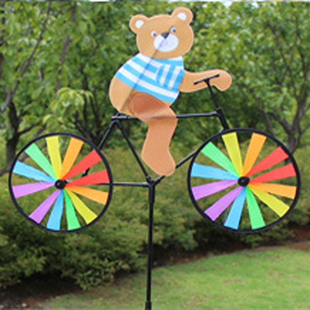 Cute 3D Animal Bear On Bike Windmill Whirligig Garden Lawn Yard Decor Wind Spinner