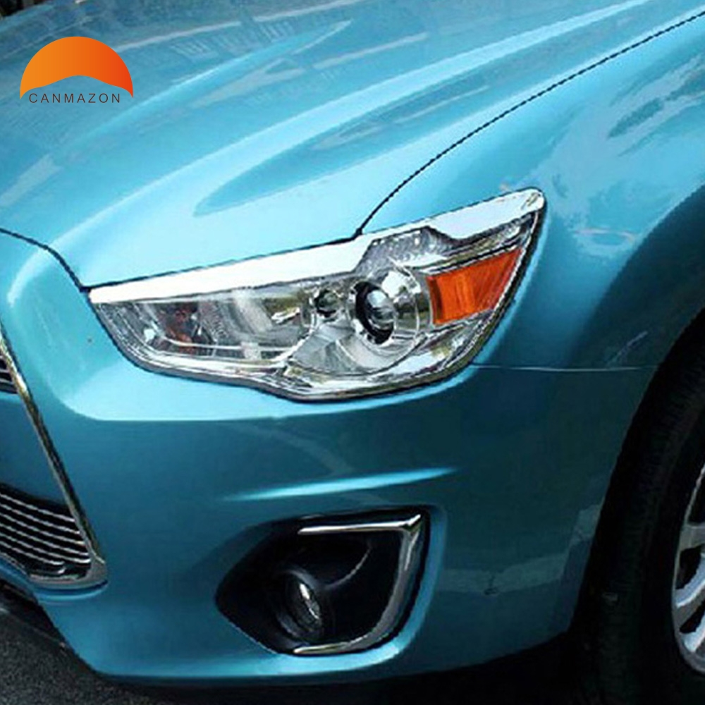 цена на For Mitsubishi ASX 2010 2011 2012 5dr Hatchback ABS Chrome Styling Outer Front Headlight Lamp Cover Shell Auto Model Trims 2pcs