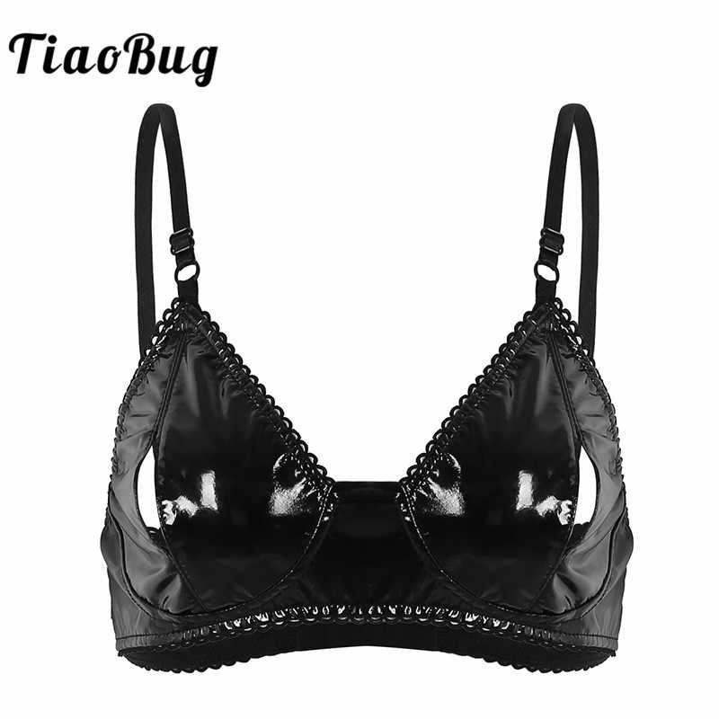 04ce70487037dd TiaoBug Women Black Adjustable Spaghetti Straps Sexy Lingerie Look Crop Top  Faux Leather Bra with Nipple