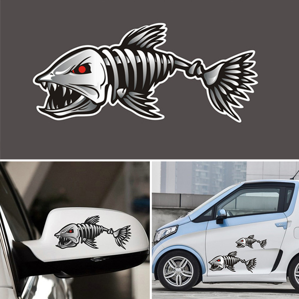 Racing Pattern Car styling Glue Sticker Sport Design For Motorcycle Auto Waterproof Reflective Decal  Mad Fish