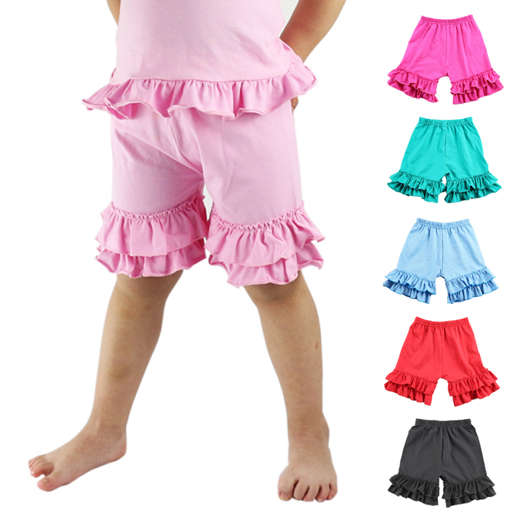 Girls Shorts Ruffled Cotton Short For Summer Children Loose Colorful Beach Bermudas Kids Casual Shorts Pants 1-8 T Elastic Waist grey summer girls short leggings triple ruffle panties for children baby elastic waist skinny shorts pants