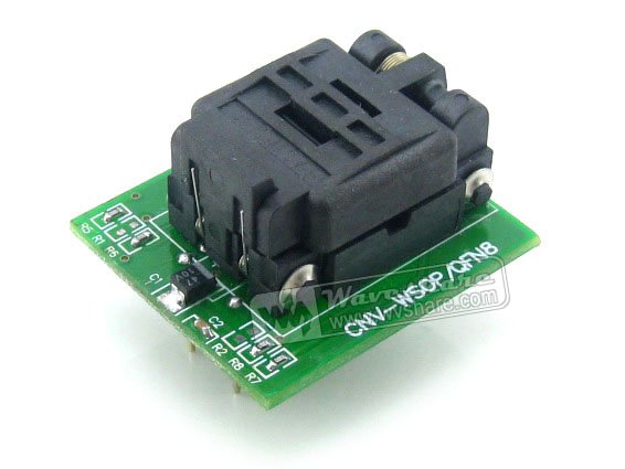 Wavesahre QFN8 TO DIP8 (A) Plastronics IC Programming Adapter Test Socket 5.1x6.1mm 1.27Pitch  for QFN8 MLF8 MLP8 Package sop8 to dip8 programming adapter socket module black green 150mil