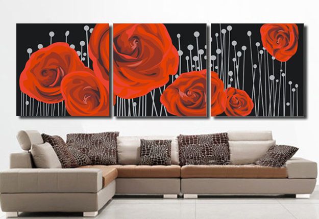 3 Pcs Sem Moldura Grande Rosas Vermelhas Flores Picture On Canvas