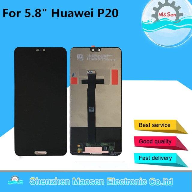 """5.8 """"الأصلي M & سين لهواوي P20 LCD شاشة عرض + لوحة اللمس شاشة محول الأرقام لهواوي P20 EML AL00 EML L29 L22 L09 AL00"""