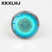 XKXLHJ Art Nouveau Ring Mandala Blue Flower of Life Sacred Geometry Handmade Jewelry Female Gift