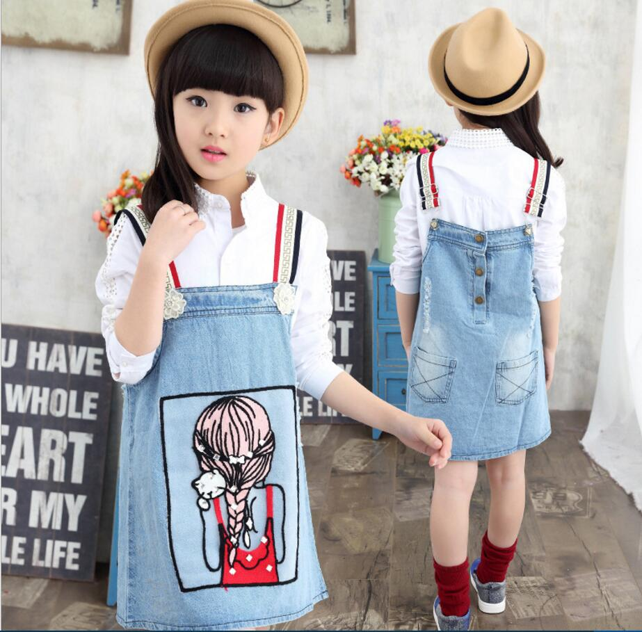 New Arrival 2017 Brand Baby Girls Denim Suspender Dress Girls Denim  Sundress Belt Kids All-match Denim Dress HB3011