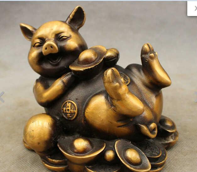 Hui88K744 <<<>> Chinês Bronze Copper FengShui Zodiac Pig Estátua YuanBao Coin RuYi Feliz Lie