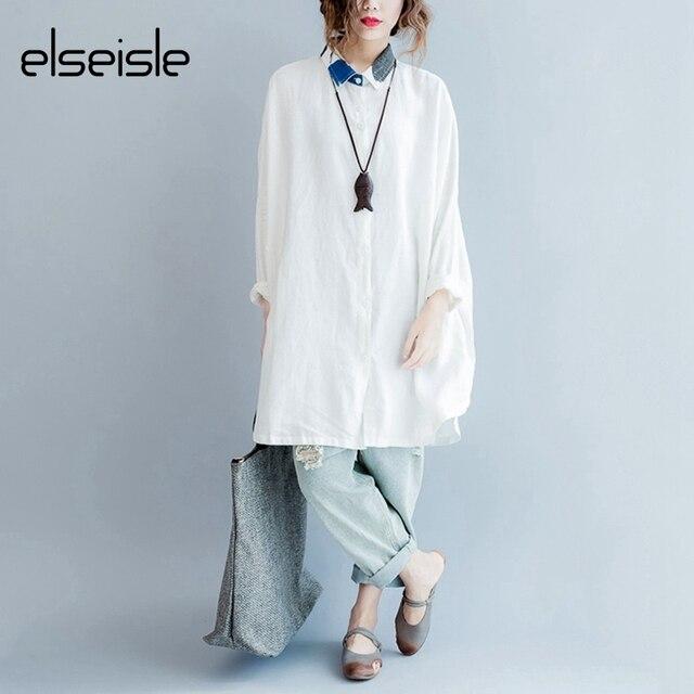 f7c75623 elseisle Blouse And Shirt Women 3XL 4XL 5XL 6XL Oversized Long White Linen  Blouse Shirt Female