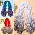 Nuevo estilo de moda para mujer de punto de girasol impreso gasa bufanda larga suave del cuello del mantón wraps summer beach bufandas