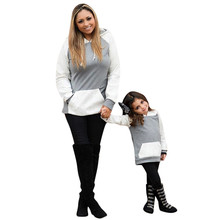 Mother Daughter Casual Hooded Splice Sweatshirt