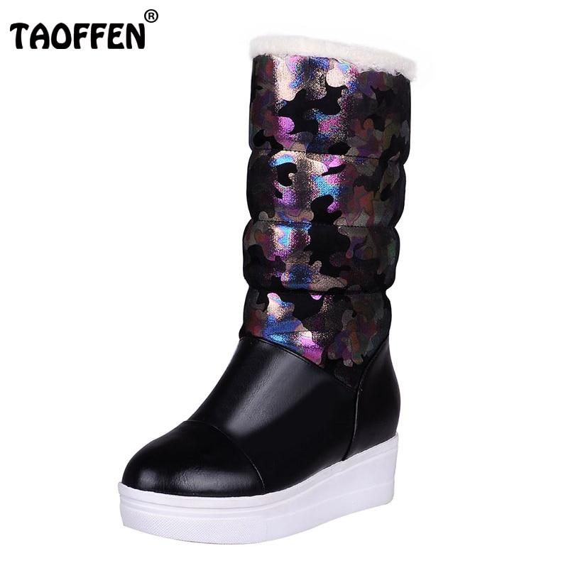 TAOFFENSize 33-42 Women Mid Calf Wedges Boots Print Warm Fur Short Boots Platform Winter Shoes For Snow Botas Woman Footwear double buckle cross straps mid calf boots
