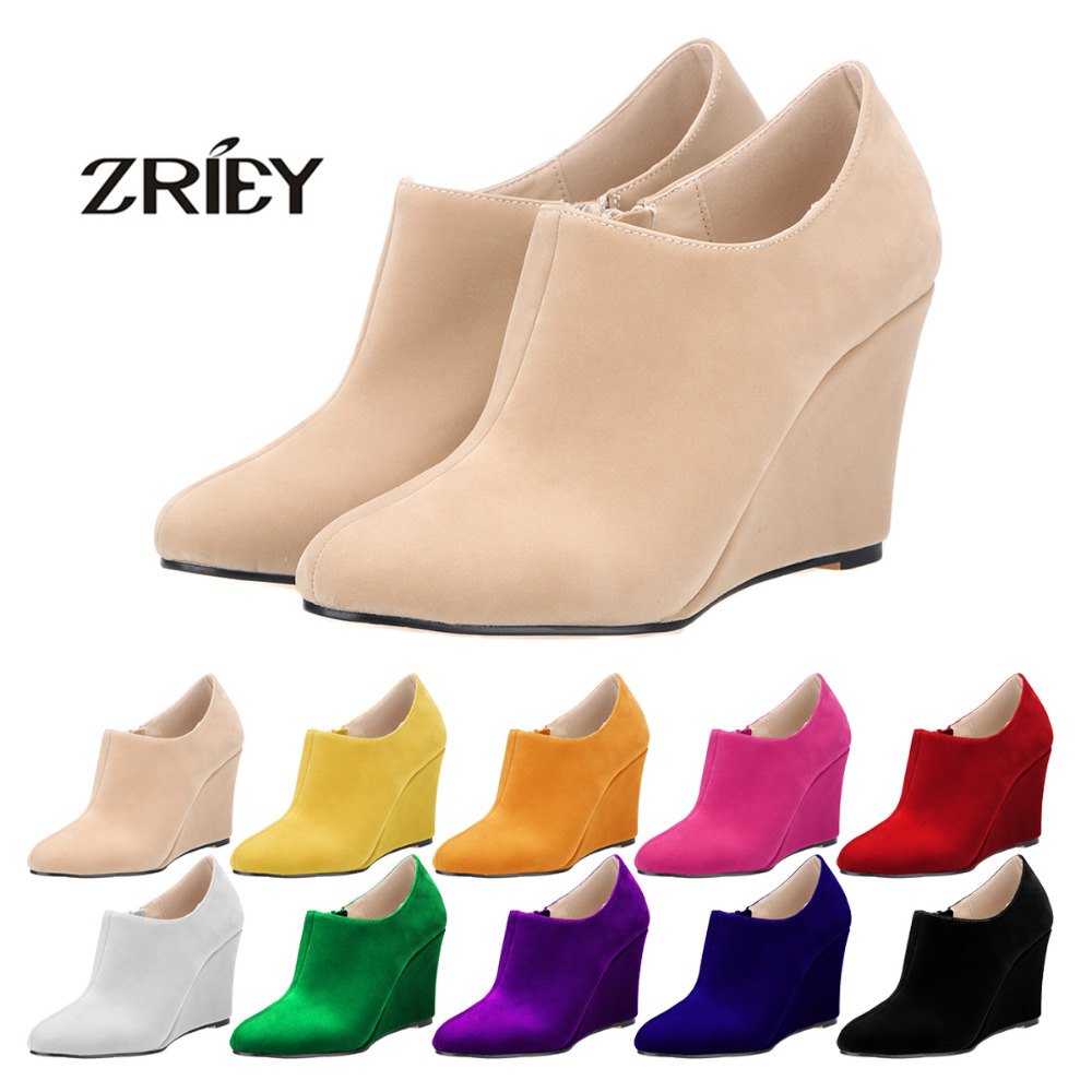Newest Spring/Autumn Suede Boots Platform Wedges High Heels Ankle Boots Women Pointed Toe Pumps Boots Solid Fashion Shoes brand rivets patchwork ankle boots hidden wedges platform martin boots high heels pointed toe spring autumn boots zapatos mujer