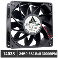 Gdstime Ball Bearing 140mm x 140mm x 38mm 14CM 24V 0.65A Cooling Fan High Pressure Axial Cooling Fan 140mm Big AirFlow Cooler