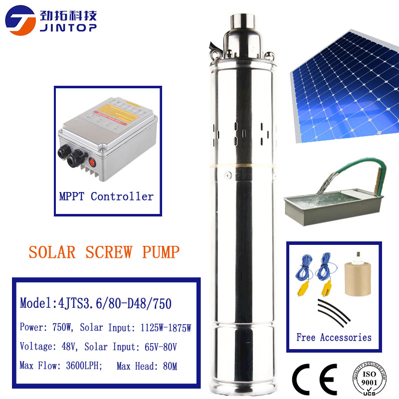 (MODEL 4JTS3.6/80 D48/750) JINTOP SOLAR DC BRUSHLESS SCREW PUMP submersible pump for irrigation exported 86 countries solar pump