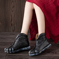 2017 Special Design Women Flat Bootie Cut Out Brushing Genuine Leather Women Ankle Boots Black