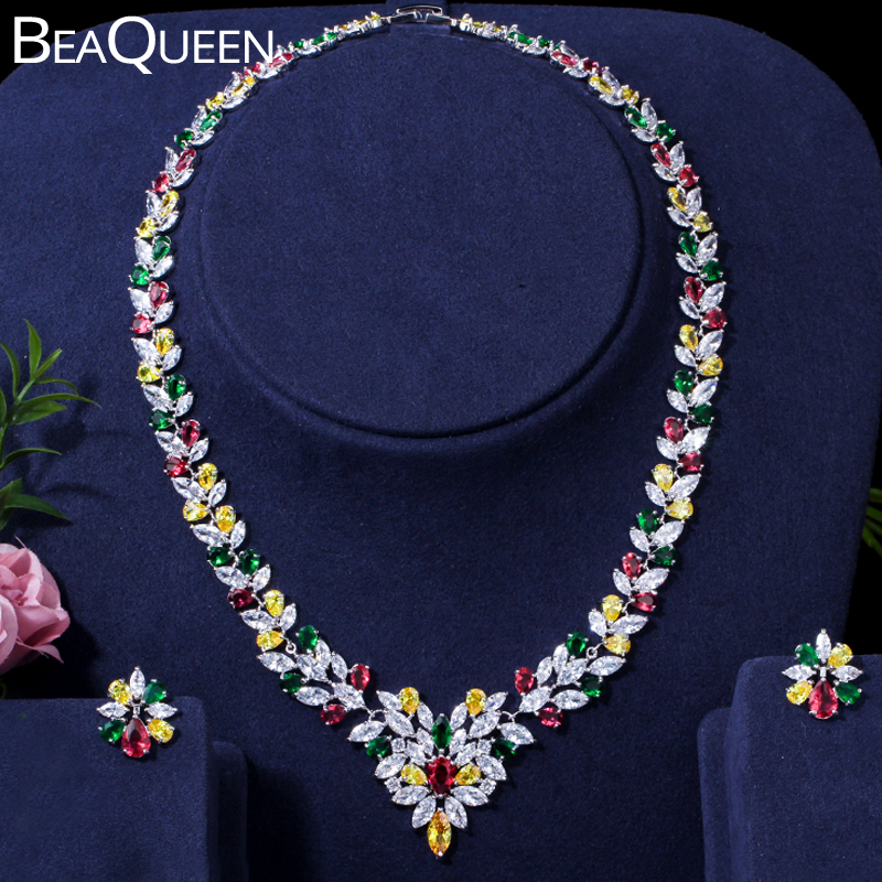 BeaQueen Green Red Yellow Multicolored CZ Crystal Cluster Flower Earrings Necklace for Women Wedding Costume Jewelry Sets S188