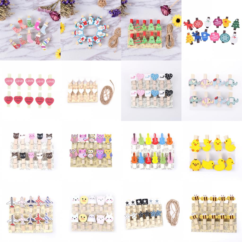 1pack Mini Memo Paper Clips Christmas Tree Bear Wooden Clips For Photo Clips Clothespin Craft Decoration Clips Pegs