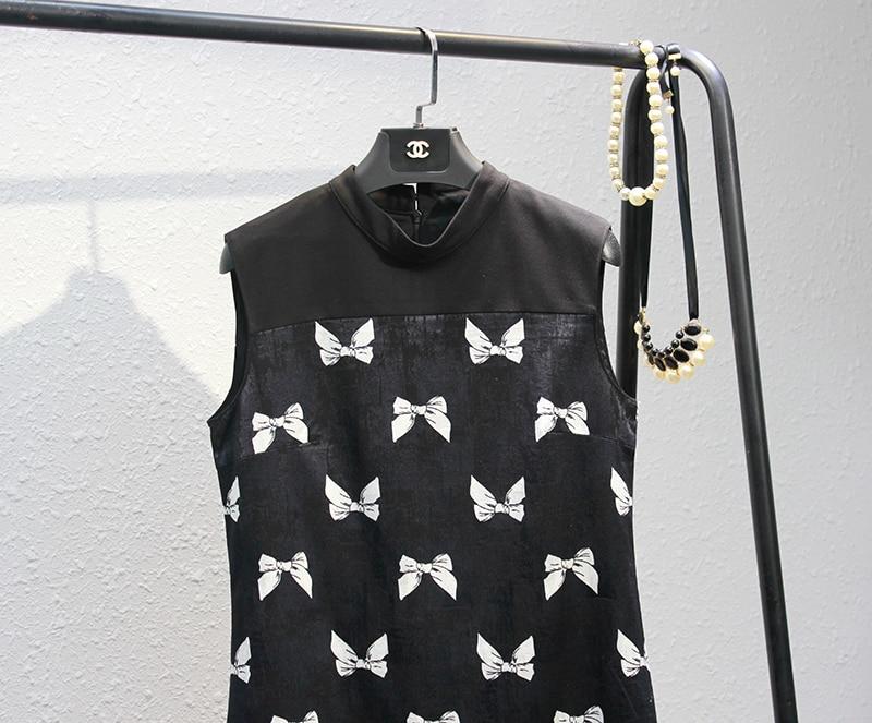 Imprimé Femmes See S Manches Noir Robes Chart Et Grande De cravate Nouveau Robes Sans Collier Arc Taille Plissée Mince 8WHTqxYIA