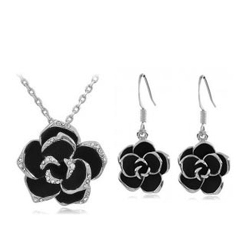 SHUANGR brand design Camellia pendant necklace sets fashion women black painting rose flower necklace earrings Jewelry