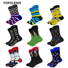 ФОТО 29 patterns colorful men's funny combed cotton socks long crew happy socks high quality wedding casual sock us size (7-10)