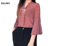 High Quality New Shirt Office Women Blouses 2017 Summer Classic Striped Print Tie Beads Flare Sleeve