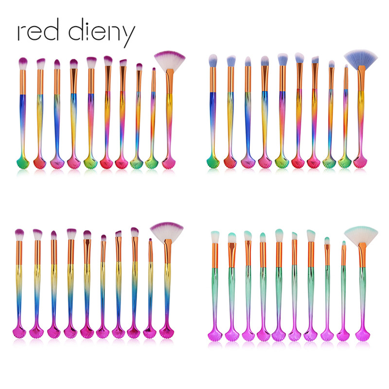 10pcs/pack Shell Makeup Brushes Set Beauty Tool Soft Eyes Shadow Brow Blush Lip Concealer Fan Mermaid Cosmetic Make Up Brush Kit 2016 new arrival black dual purpose eyelash assist device extension beauty supplies brow brush lash comb makeup brushes tools
