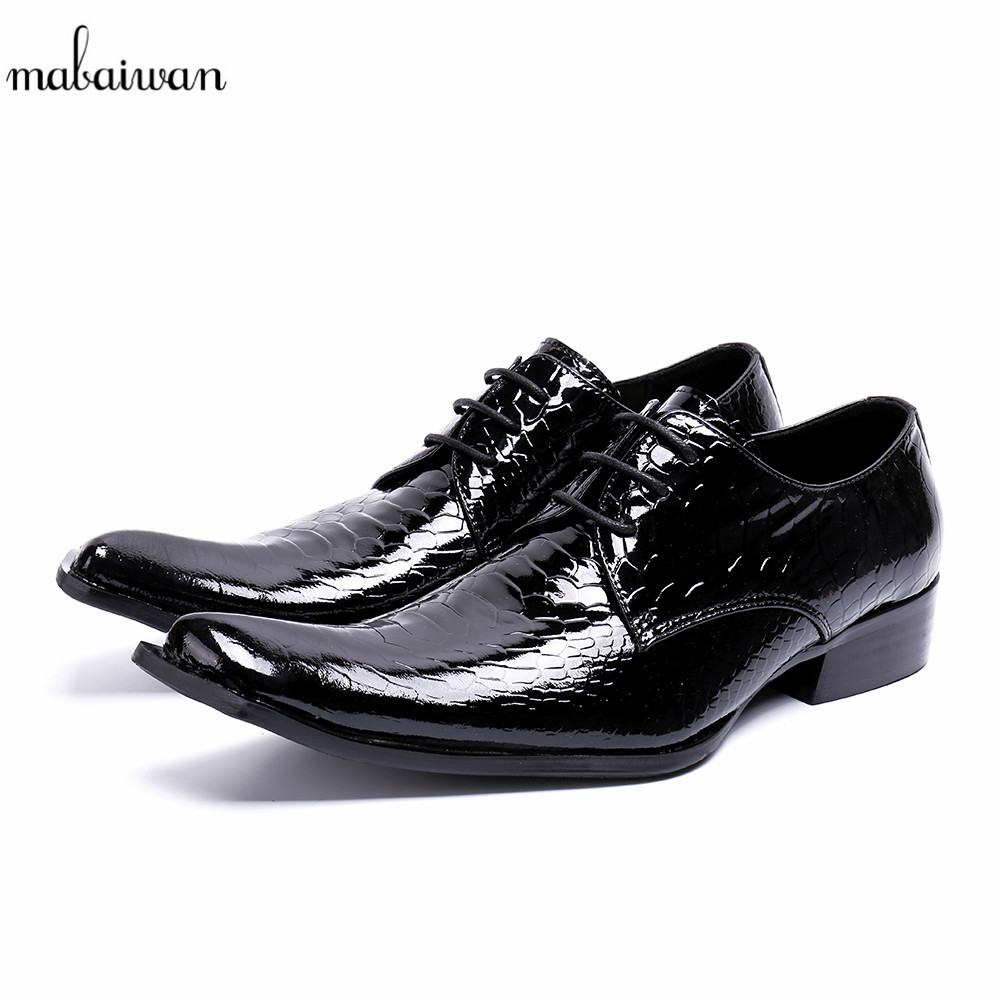 Mabaiwan Male Designer Crocodile Genuine Leather Dress Men Casual Shoes Lace Up Italy Business Wedding Shoes Men Oxford Flats mabaiwan fashion new design leather dress men shoes lace up italy business wedding formal shoes men metal pointed toe male flats