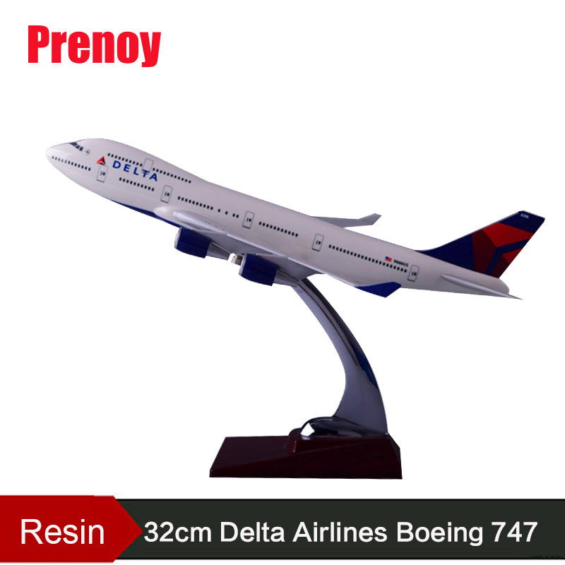 32cm Boeing 747 Resin Aircraft Model B747 Delta Airlines Airplane Airbus Model Delta International Aviation Airways Stand Crafts phoenix 11079 airlines b747 8f vq bvc silkway 1 400 commercial jetliners plane model hobby