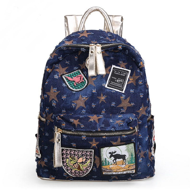 Blue Vintage Casual Preppy Style Appliques Broken Denim Backpack School Bags Jeans Women Daypacks CrossBody bag