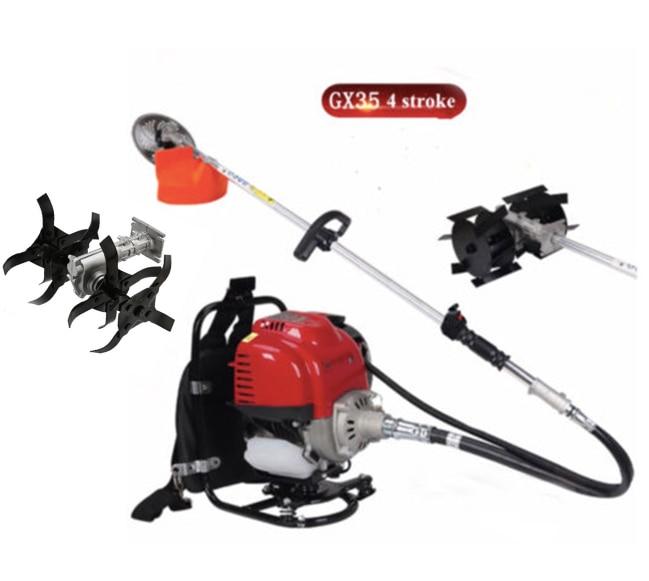 Gx35 Mochila 4 acidente vascular cerebral 3 in1 Escova cortador de grama aparador de grama de perfilhos cultivador weeder