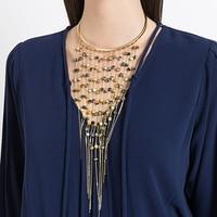 2018 neue Design Orange Quaste Lange Acryl Perlen Hals Drehmomente Halskette Für Frauen Indischen Schmuck Großhandel