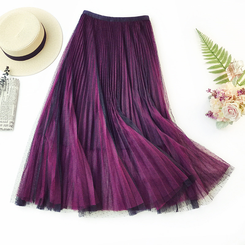 Wasteheart Purple Gray Lace Women Skirt Casual Women High Waist Pleated Ankle Length Skirts Mesh Clothing All-match Plus Size Price $19.42