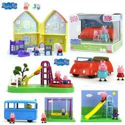 Подлинный семейный дом Свинка Пеппа красный автомобиль школьный автобус детская площадка качели горка Geroeg фигурки детская игрушка подарок...