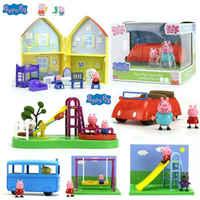 Genuine Peppa Pig Peppa's family house red car school bus Playground swing slide Geroeg figures Kids Toy GIFT original box