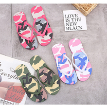 Jinsen Aite 2019 Summer Couple Women and Man Beach Slippers Camouflage Fashion Flat with Flip Flops  Slip On Slides Shoes JS812